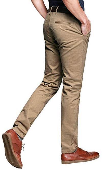 OCHENTA Mens Tapered Flat Front Casual Dress Pants khaki