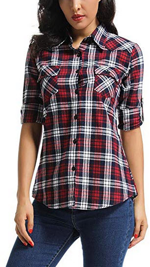OCHENTA Women's Long Sleeve Button Down Plaid Flannel Shirt red grid