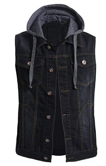 OLLIN1 Mens Casual Denim Vest Jacket with Hoodie black