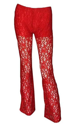 omniscient Womens Trousers High Waist Loose Wide Leg Lace Long Palazzo Pants, red