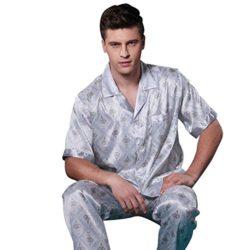 Only Faith Men's Short Sleeve Silk Pajama Homewear Set