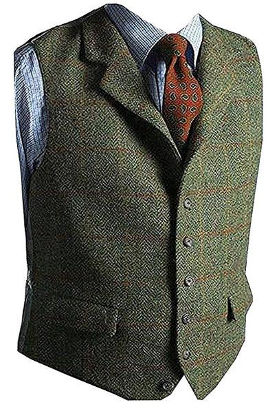 Onlylover Men's Wool Herringbone Groom Vests Formal Groom's Wear Suit Vest Skinny Wedding Dress  ...