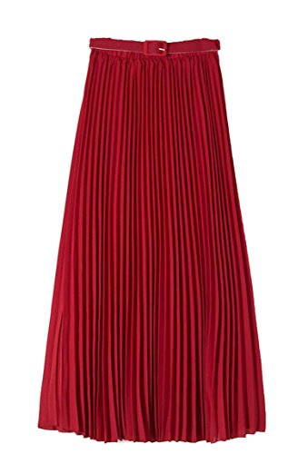 ONTBYB Womens Bohemian Solid Color Pleated Stylish High Waist Maxi Skirt With Belt