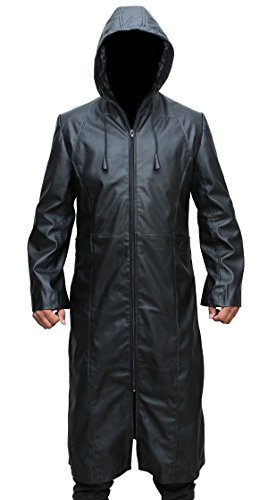 Organization XIII Jacket – Enigma Hooded Black Leather Trench Coat by fjackets