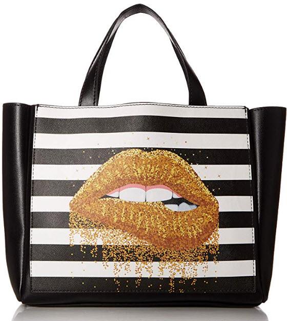 OrganizedBag Dillon Printed Handbag Organizer, black lips
