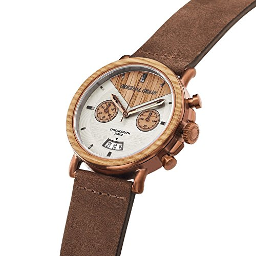 Original Grain Wood Wrist Watch | Alterra Collection 44MM Chronograph Watch | Brown Leather Watc ...