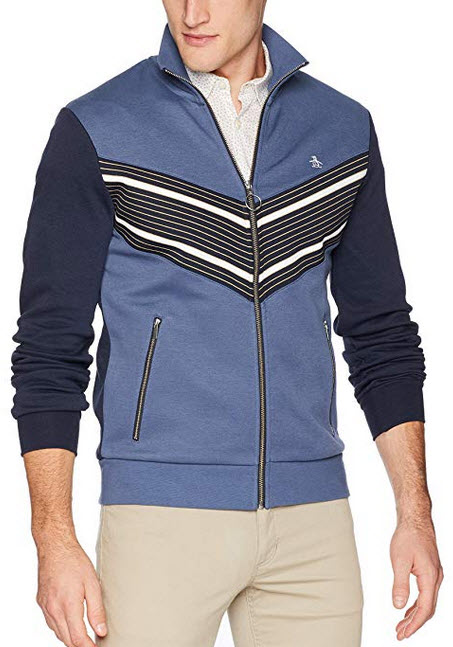 Original Penguin Men's Long Sleeve Track Jacket vintage indigo stripe