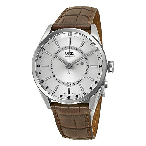 Oris Men's Artix Pointer Moon 42mm Brown Leather Band Steel Case Automatic Analog Watch 76 ...