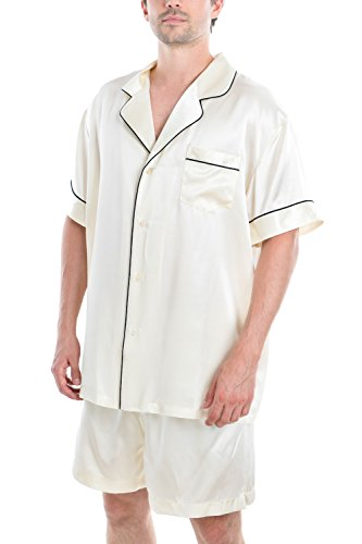 OSCAR ROSSA Men's Luxury Silk Sleepwear 100% Silk Short Sleeve Top Short Pant Boxer Pajama ...
