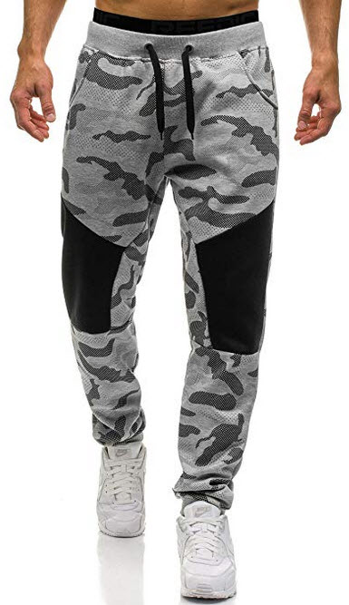Ouber Men's Slim Fit Camo Jogger Sweatpant Cotton Tapered Gym Pants grey camo