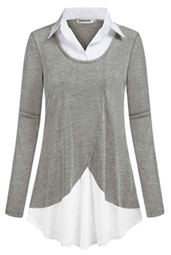 Ouncuty Women Casual Long Sleeve Collar Patchwork Flowy Office Shirts Tunic Top, L-grey
