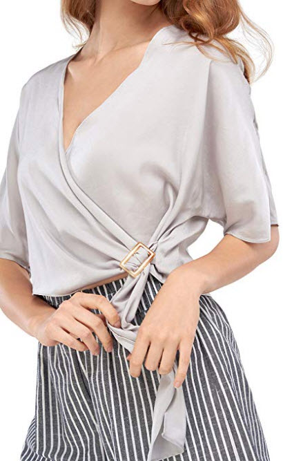 Our Heritage Women's Blouse Women's Wrap Blouse with Buckle
