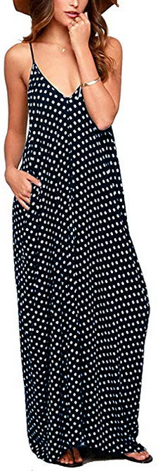 OURS Womens Casual Sleeveless Spaghetti Strap V Neck Polka Dot Long Maxi Dresses with Pockets na ...