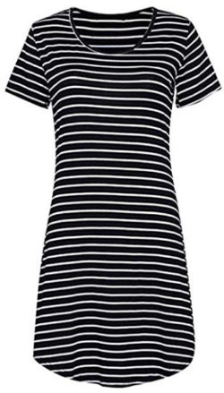 OURS Women's Crew Neck Short Sleeve Striped Loose T-Shirt Mini Dress