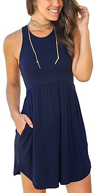 OURS Womens Sleeveless Loose Racerback Sundresses Casual Short Dress with Pockets navy blue