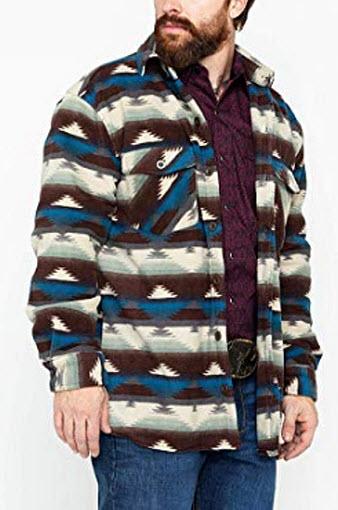 Outback Trading Co Men's Aztec Fleece Indy Big Shirt Jacket, natural
