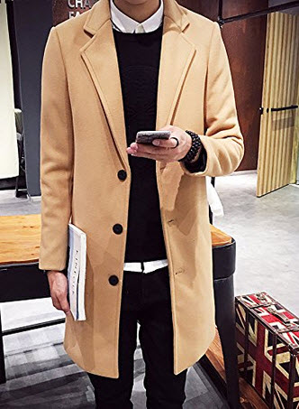Ouye Men's Single Breasted Casual Long Trench Coat.