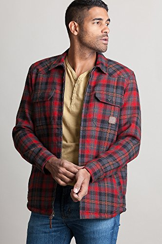 Overland Sheepskin Co Nash Sherpa-Lined Flannel Shirt Jacket