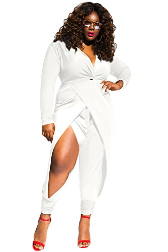 O&W Women White Twist Knot Slit Long Sleeve Plus Size Jumpsuit by OUR WINGS