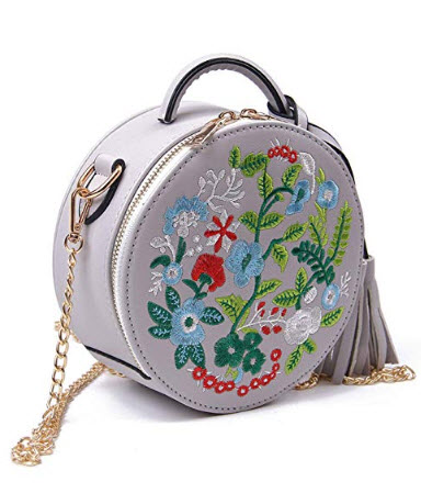 Oweisong Women Embroidered Ethnic Style Shoulder Bag Round Clock Tassel Top Handle Toe Crossbody ...
