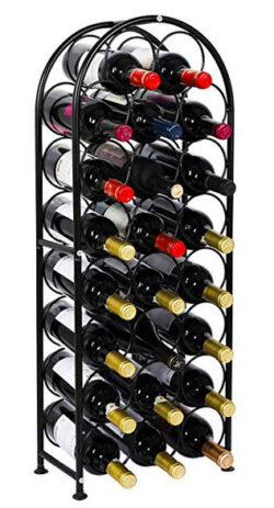 PAG 23 Bottles Arched Free-Standing Floor Metal Wine Rack Holders Stands with 4 Adjustable Foot  ...
