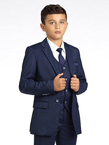 Paisley of London Boys Check Suit With Shirt and Vest, Ring Bearer Suits, Childrens Suits