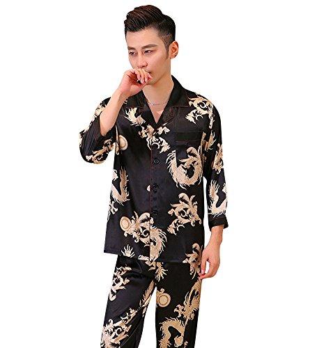 Pajajud Men's Dragon Print Silk Casual Pajama Pj Sleepwear Set