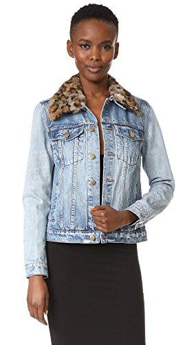 Pam & Gela Women's Denim Jacket with Detachable Fur Collar