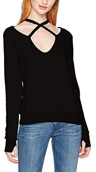 Pam & Gela Women's Rib Cross Neck Sweatshirt black