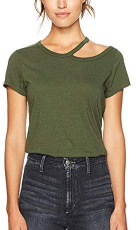 Pam & Gela Women's Scoop Neck W/Cold Shoulder olive
