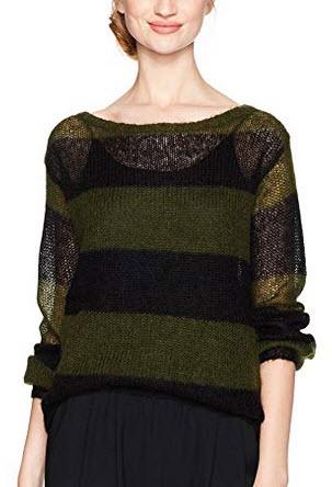 Pam & Gela Women's Wavy Stripe Sweater fern black