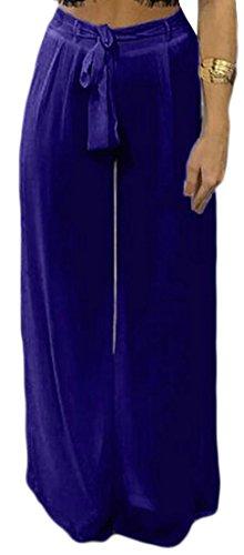 Pandapang Womens Drawstring Classic Wide Leg Solid Chiffon Palazzo Pants