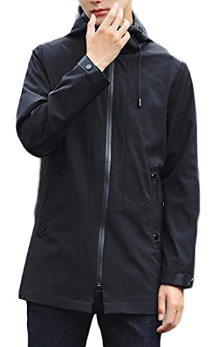 Papijam Men's Casual Zip Up Lightweight Cotton Hoodie Trench Coat Jacket