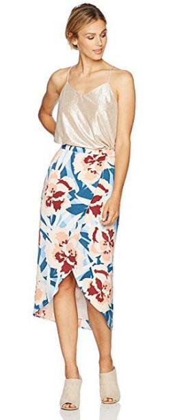 PARIS SUNDAY Women's Faux Wrap Satin Tulip Hem Midi Skirt, multi floral