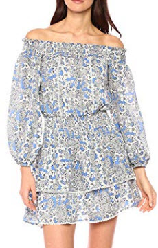 Parker Women's Kara Off The Shoulder Floral Print Dress, blue layla
