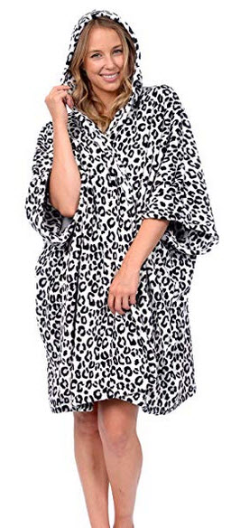 Patricia Womens Premium Plush Fleece Hooded Snuggle Blanket Poncho Wrap snow leopard