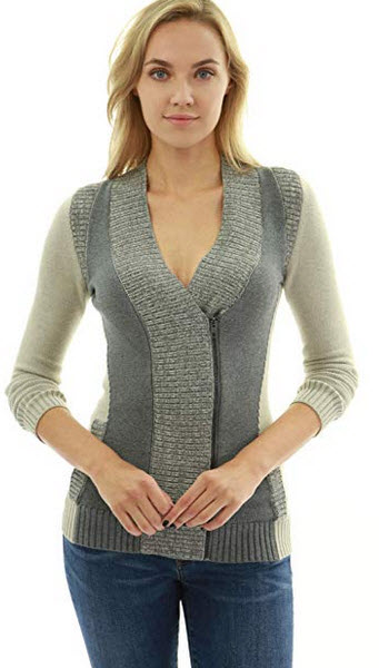 PattyBoutik Color Contrast Zip Sweater Cardigan beige & grey