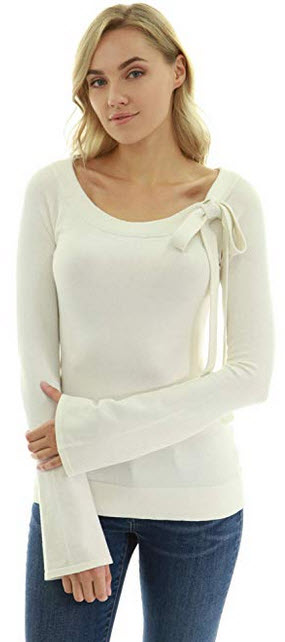 PattyBoutik Women Scoop Neck Tie Bow Bell Sleeve Sweater ivory