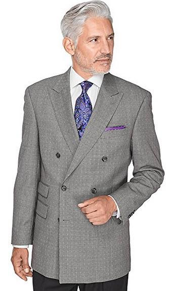 Paul Fredrick Men's Pindot wool double breasted sport coat, peak lapel .