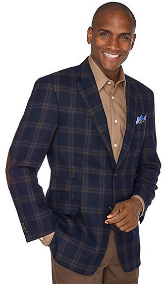 Paul Fredrick Men's Plaid wool sport coat, two button, notch lapel.