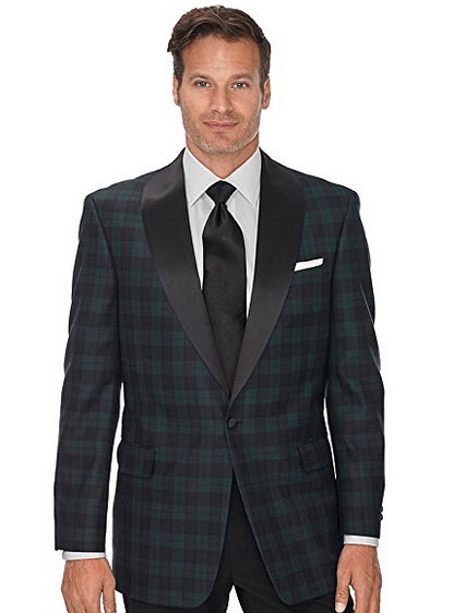 Paul Fredrick Men's Tartan wool sport coat, one button, satin shawl collar.