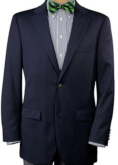 Paul Fredrick Men's 100% Wool Two-Button Travel Blazer Navy Regular.