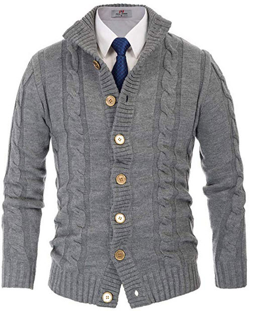 Paul Jones Mens Casual Stand Collar Cable Knitted Button Down Cardigan Sweater gray