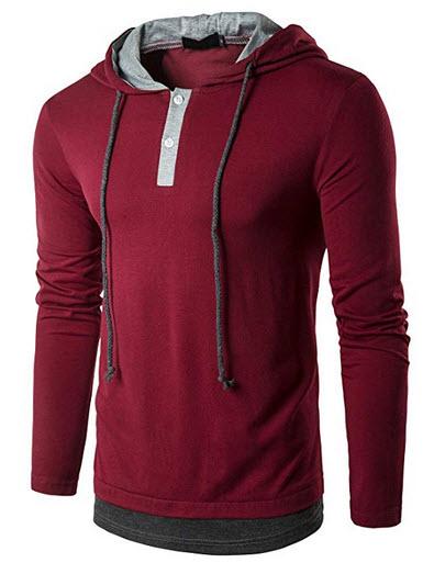 Pdbokew Men's Casual Slim Fit Hoodie Pullover Long Sleeve T Shirt