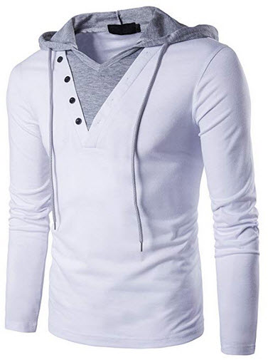 Pdbokew Men's Casual Slim Fit Hoodie Pullover Long Sleeve T Shirt white