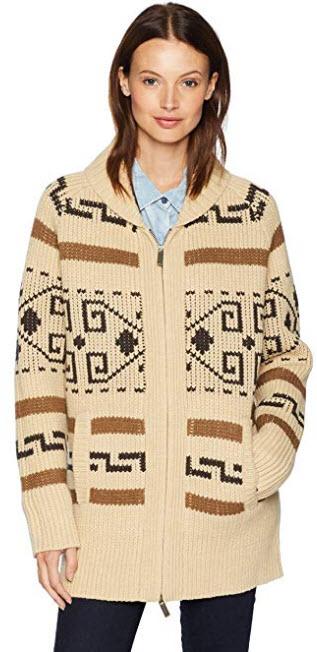 Pendleton Women's Long Westerley Cardigan Sweater tan/brown multi