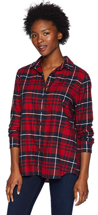 Pendleton Womens Petite Primary Flannel Shirt red navy plaid