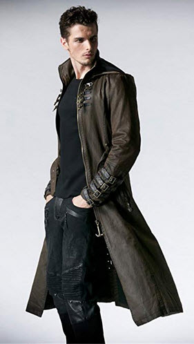 Peony ghost Steampunk Man Coffee Dark Twill Long Coat Leather Loops Hooded Trench Coats Windbrea ...