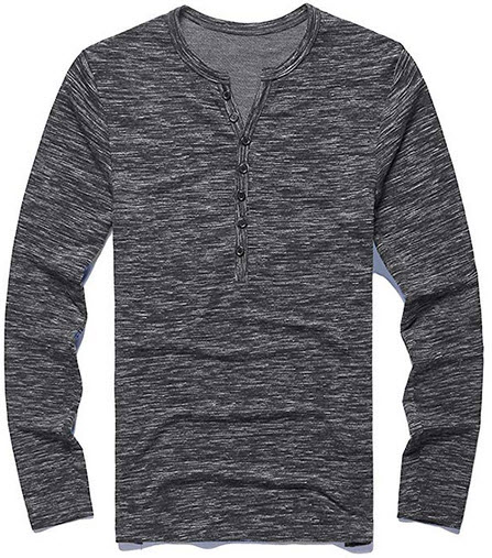 PERDONTOO Men's Casual Slim Fit Long Sleeve Henley T-Shirts Cotton Shirts dark grey