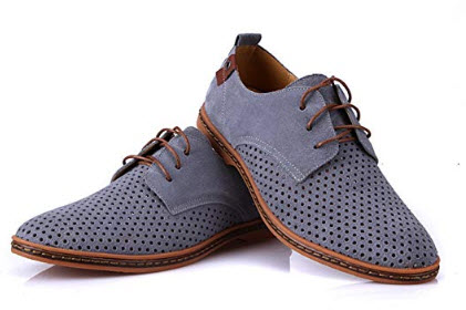 Perfues Spring Summer Suede Men Casual Shoes Flats Driver Footwear Breathable Lace up Plus Size  ...